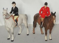 Lot 292: Beswick Huntswoman on Grey Horse No.1730 with Huntsman on Brown Horse No.1501. (2 Items)