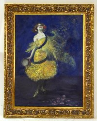 Lot 145: Dudley Hardy (British, 1865-1922) 'Dancing Girl' signed 'Dudley Harvey' (lower right) Oil & Pastel on canvas' 102 x 76cm (40 3/16 x 29 15/16in). Framed.