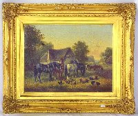 Lot 217: John Frederick Herring Snr. (1795-1853) English) 'A Farmyard Scene with Cart Horses' Oil on Canvass. Signed and dated indistinctly lower right. Circa 1815. Original frame 18 x 14 inches.