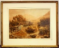 Lot 178: Joshua Cristall  (British, 1767-1847) Watercolour and pencil 'A Welsh Cottage'. Signed J.Cristall 1830 Lower left. Sotherbys labels to verso. Framed under glass. 47 x 65 cm. (18 1/2 x 25 1/2 in.