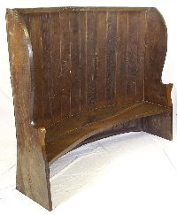 Lot 403: Period Oak Curved Wing Back Tavern Settle. 18thc. Width 80 1/2in. Height 65 in. Depth 26 1/2in.