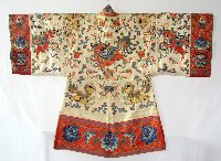 Lot 70:Quality Antique Old Chinese Hand Made Red Silk/Gold Thread Embroidered Textile Robe. Signed character marks to lining.Early 20thc. Length 50 in. Width 68 in.
