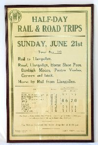 "Lot 160: Rare GWR Llangollen Poster  ""Half Day Road & Rail Trips"" Sunday,June 21st. Dated May 1936, James Milne Paddington . No.CH 27/295 Chester 70. Printers G.R.Griffith Ltd,Pepper Street,Chester. Framed under glass 41 x 26 inches."