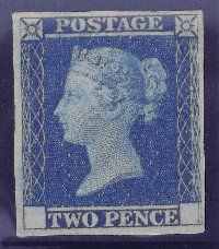 Lot 152: Rare Great Britain Queen Victoria 1841 2d Blue (SG DP3) Unused Trial with No Corner Letters. Gummed and possibly adhered to a Postal Notice. Ex Stanley Gibbons.