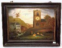 Lot 145: Victorian Picture Frame Clock Oil on Steel. Depicting Church with nude ladies bathing in pond with numerous voyeurs taking interest,including the vicar on the church tower! (Rare subject). Fusee movement by John R Trenham,Helmsley. Going order with key. Height 13 in Width 17 in.