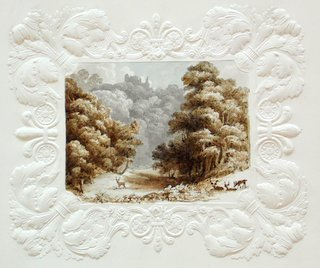 Local Interest Antique Watercolor 'Hawarden Castle' Painted on an Embossed Mount Marked  Woofindin Sheffield. 19th Century.