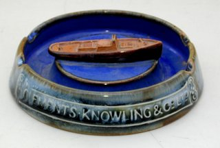 Very Scarce Royal Doulton Clements Knowling & Co.Ltd 'Tugboat' Advertisment Ashtray. Early 1900s. Diameter  5 inches.