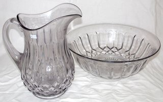 Georgian Large Fluted Glass Toiletry Jug & Bowl. Early 19th Century.