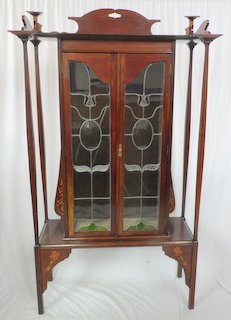 Good Antique Art Nouveau Mahogany Display Cabinet. Late 19th Century