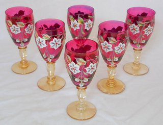 Bohemian Crystal Enamel Hand Painted Set of Six Cranberry/Gold Knop Stem Wine Glasses. Height 6 inches. (6 Items) Antiques and Collectables Wrexham Whitchurch Shrewsbury Liverpool Warrington Chester Mold Oswestry Llandudno