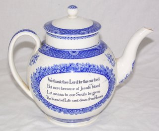 "Scarce Wedgwood "" John Wesley Teapot with Verses"", Blue and White Replica of the Original in John Wesleys House in City Road,London.Circa 1920. Complete with document. Height 7 inches. Antiques in Wrexham Whitchurch Shrewsbury Liverpool Warrington Chester Mold Oswestry Llandudno"
