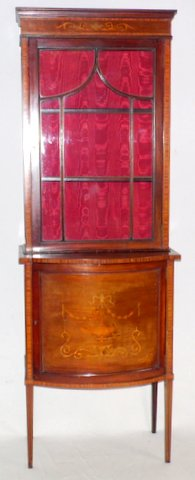 Edwardian Antique Sheraton Revival Bowfronted Mahogany Inlaid Display Cabinet. Early 1900s. Height 75 in. Width 26 in. Depth 16 in. Wrexham Whitchurch Shrewsbury Liverpool Warrington Chester Mold Oswestry Llandudno