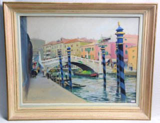 Roger Chapelet France (1903-1995). Original Painting 'Ralto Bridge' Venice. Chapelet is considered one of the three great 20th century painters of the French Navy. Signed lower left with anchor. Framed under glass 31 x 25 inches. Antique Sale Wrexham Whitchurch Shrewsbury Liverpool Warrington Chester Mold Oswestry Llandudno