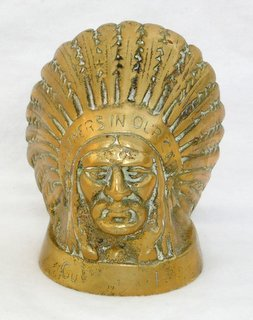 Guy Motors 'Feather in your Cap' Indian Chief Solid Cast Brass Radiator Cap Mascot/Paperweight. 4 x 4 1/2 inches. .