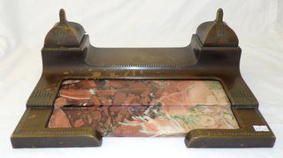 Antique Heavy Bronze and Rouge Marble Double Ink Stand/Pen Rest. Circa 1900.  16 x 10 inches.