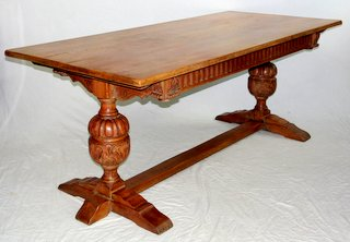 Victorian English Carved Oak Refectory Table in 17th Century Taste. Circa 1900. Height 30 in. Length 72 in.  Depth 33 in.