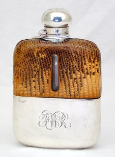 Victorian G & J W Hawksley Sterling Silver & Snakeskin Mounted Spirit Hip Flask Circa 1895. Having mushroom-shaped