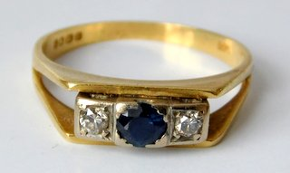 Art Deco18ct  Yellow and White Gold  Diamond & Sapphire Trilogy Ring.Size P (16).  Hallmarked 18ct.  Boxed.