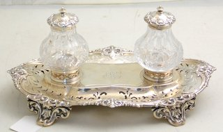 Victorian Sterling Silver Desk Set by John Brashier. Hallmarked London 1881.