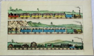 Very Rare Railway Enthusiasts Lithograph Titled 'Sketch of the carriages on the Liverpool & Manchester Railway'