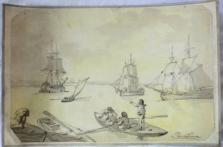 Rare THOMAS ROWLANDSON (1757-1827) 'All Ashore' Pen and Ink Watercolour.