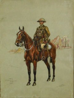 Thomas Ivester Lloyd (British, 1871-1942)  Watercolour 'Officer 1st Royal Dragoons 1918'