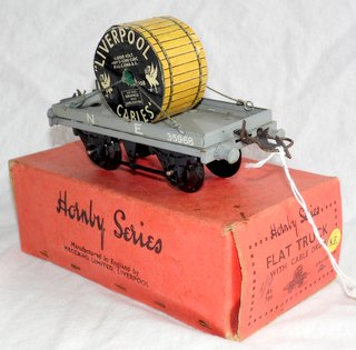 "A Hornby ""O"" gauge 'Liverpool Cables' Flat Truck with Cable Drum. No.RS706 in light grey LNER livery. Boxed"