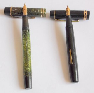 "Antique Onoto De La Rue The Pen Silver Lined Fountain Pen, 14K 3/ST NIB. Also   ""The Unique Pen"" Made In England, 14c .585 Nib.  (2 Items)"
