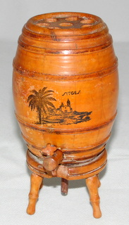 Vintage Mauchline Ware Style Pop UP Whiskey Barrel Cigarette Dispenser. Sitges transfer. Height  5 3/4 inches.
