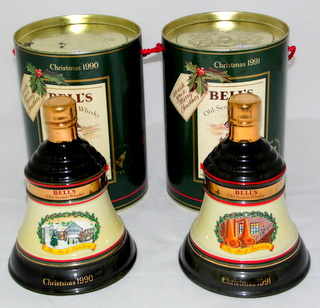 Wade Bell's Decanters Christmas 1990 and 1991 Unopened in Original Containers 70cl.  (2 Items)