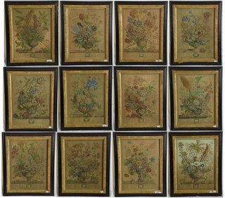 "Pieter Casteels 1684-1789  A Set of Twelve Coloured Engravings ""The Twelve Months of the Year in Flowers"", by H Fletcher"